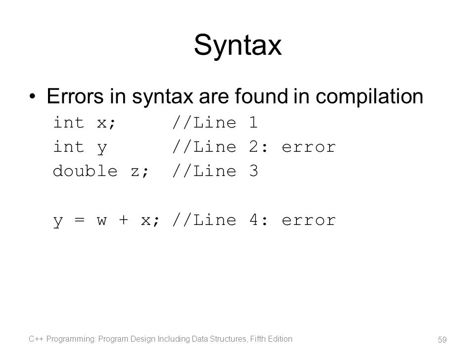 Syntax Errors in syntax are found in compilation int x; //Line 1