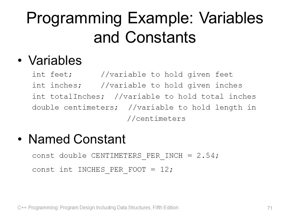 Programming Example: Variables and Constants