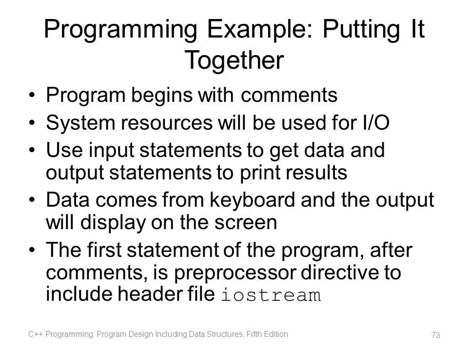 Programming Example: Putting It Together