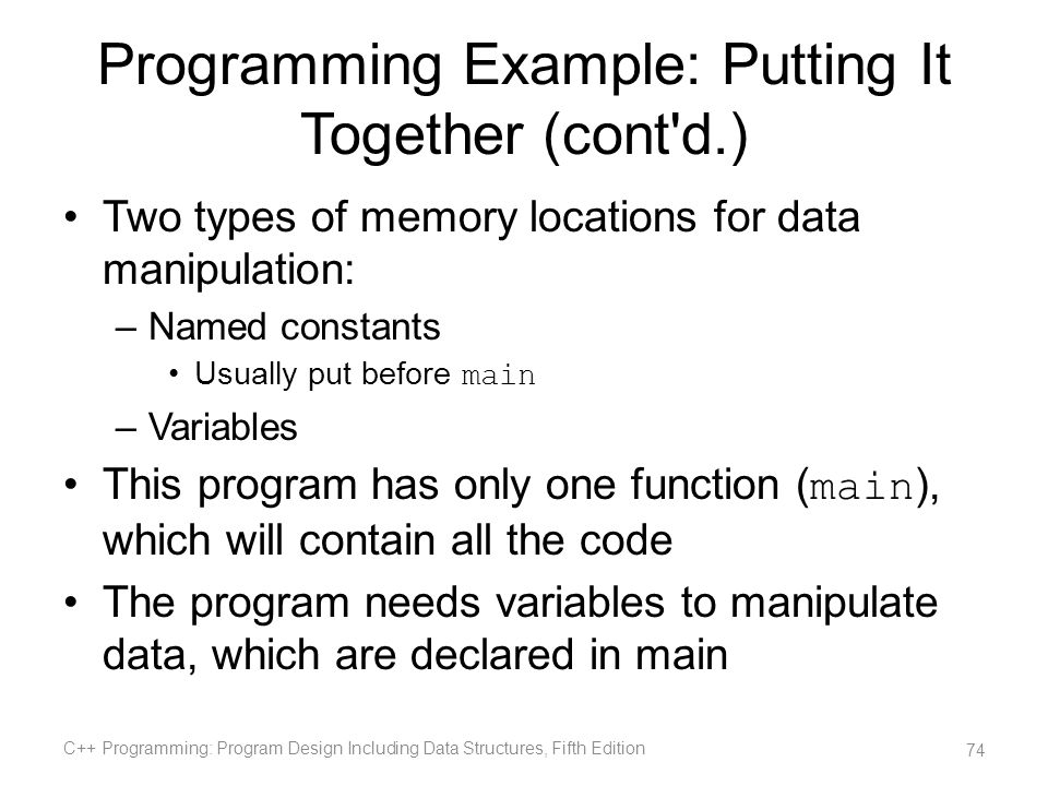 Programming Example: Putting It Together (cont d.)