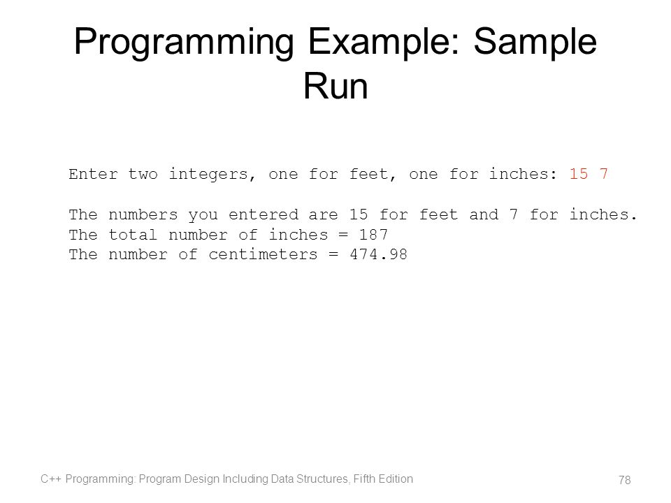Programming Example: Sample Run