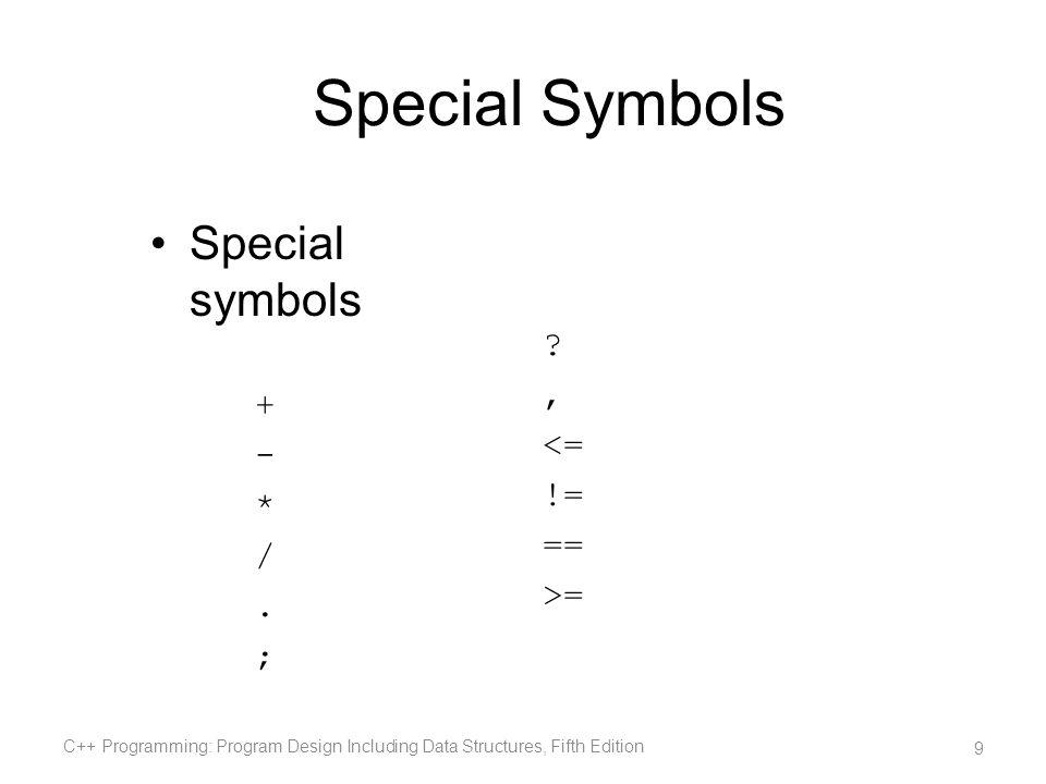 Special Symbols Special symbols + , - <= * != / == . >= ;
