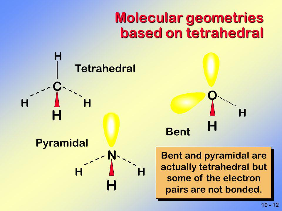 Molecular geometries based on tetrahedral