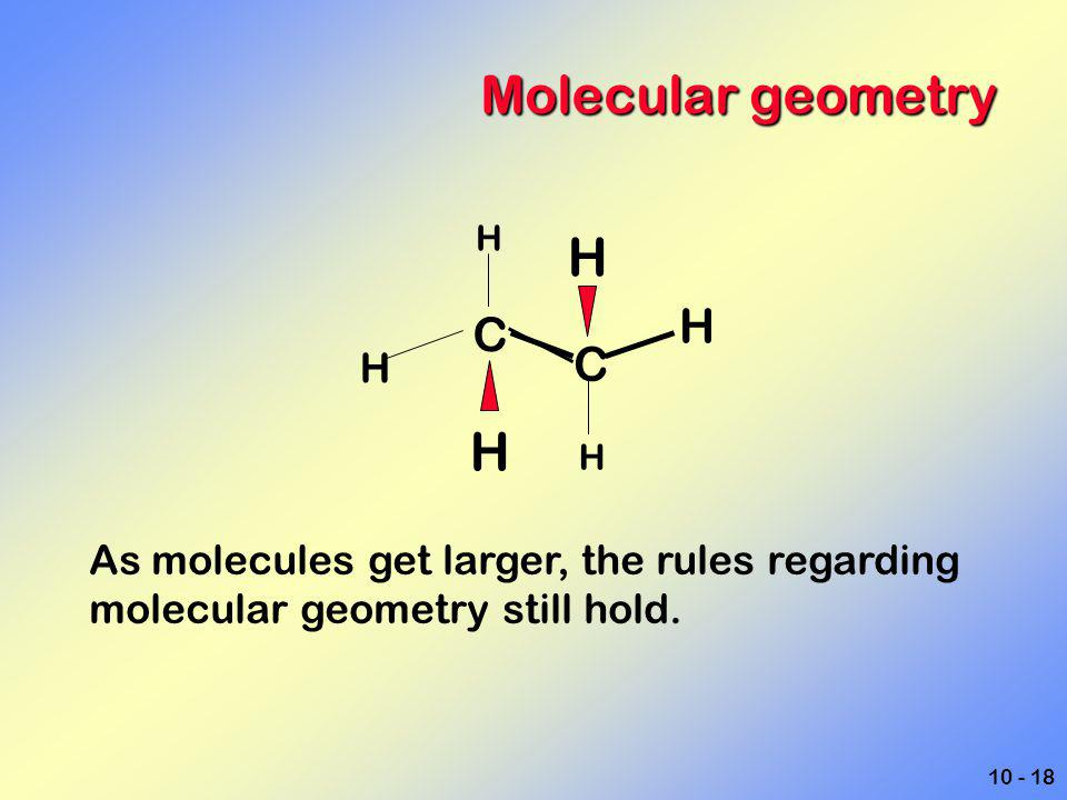 Molecular geometry H C As molecules get larger, the rules regarding