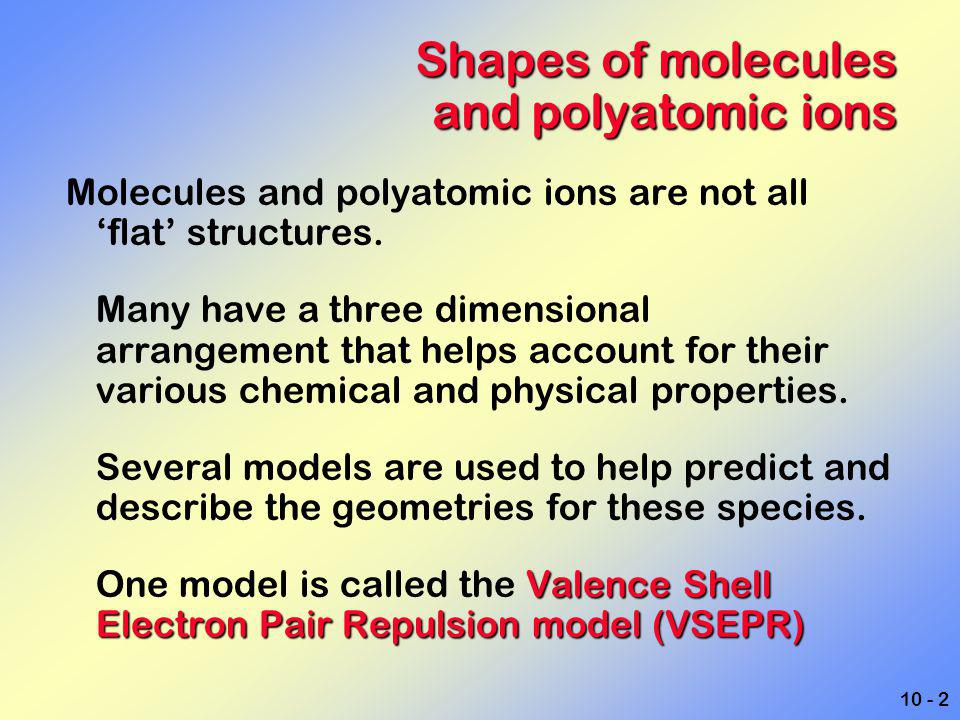 Shapes of molecules and polyatomic ions