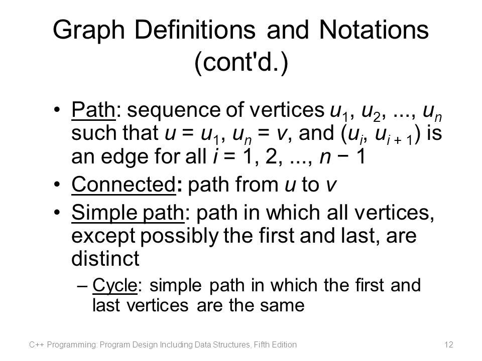 Graph Definitions and Notations (cont d.)