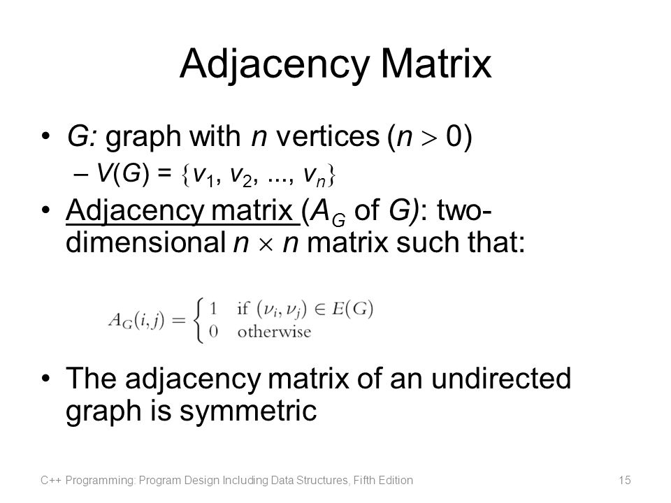 Adjacency Matrix G: graph with n vertices (n  0)