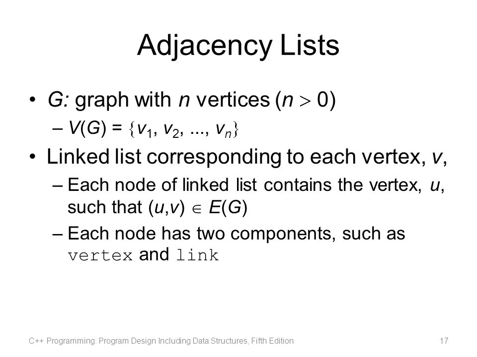 Adjacency Lists G: graph with n vertices (n  0)