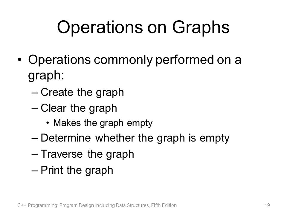 Operations on Graphs Operations commonly performed on a graph: