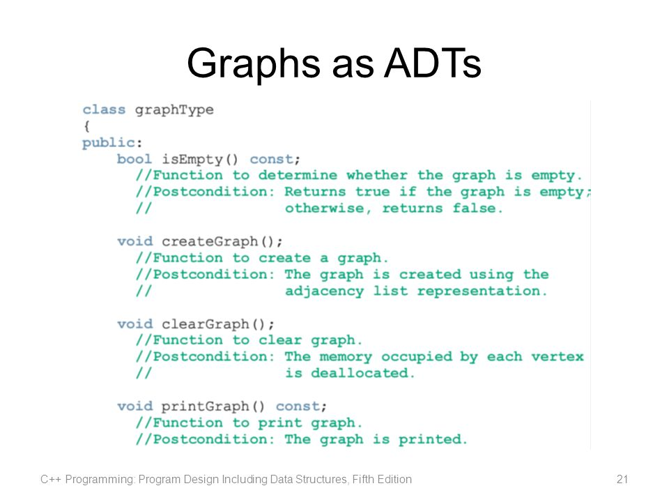 Graphs as ADTs C++ Programming: Program Design Including Data Structures, Fifth Edition