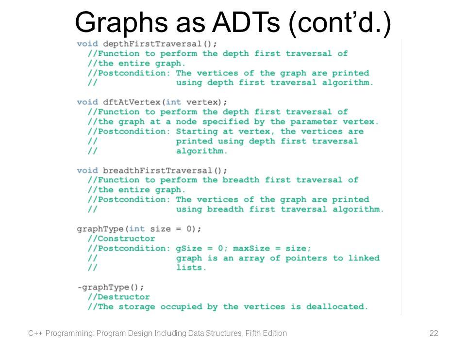Graphs as ADTs (cont'd.)