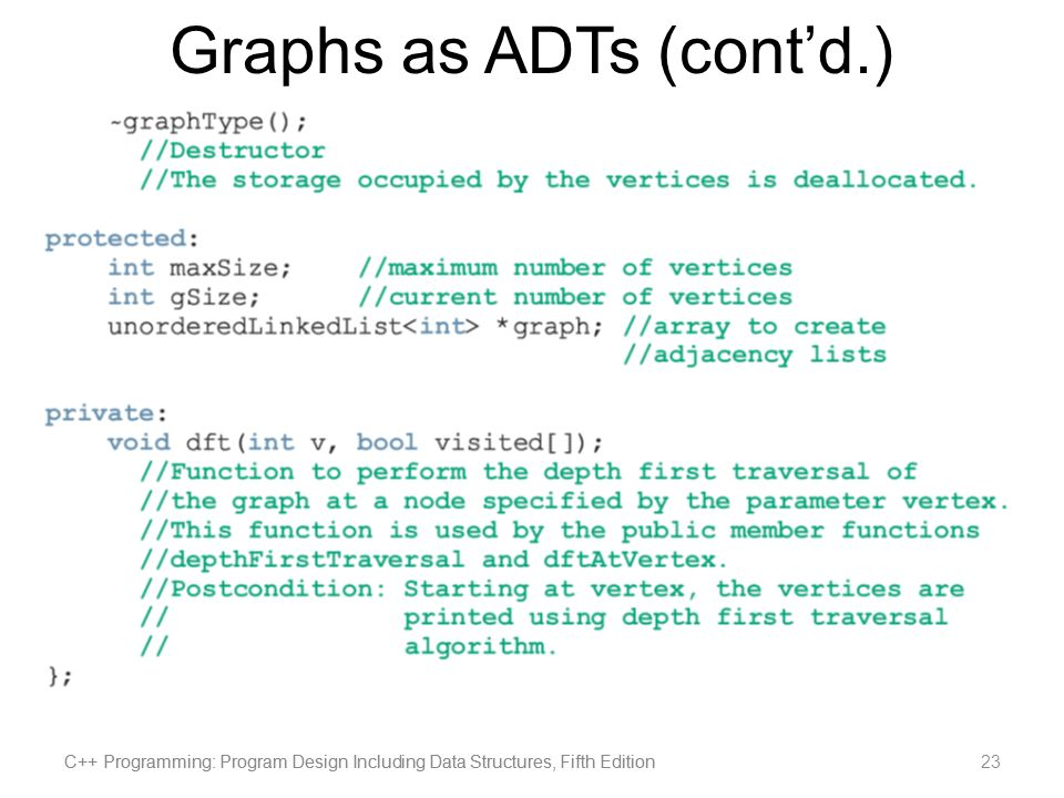 Graphs as ADTs (cont'd.)