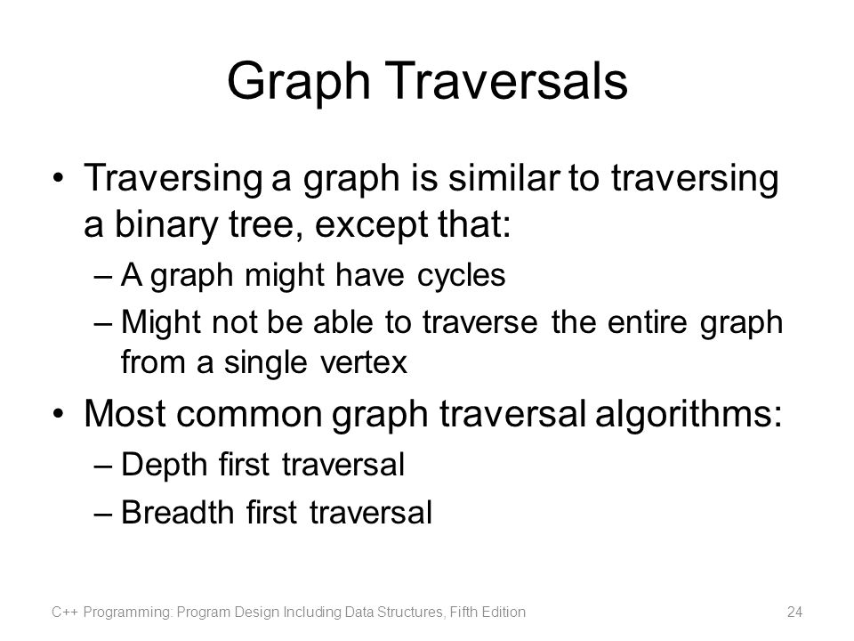 Graph Traversals Traversing a graph is similar to traversing a binary tree, except that: A graph might have cycles.