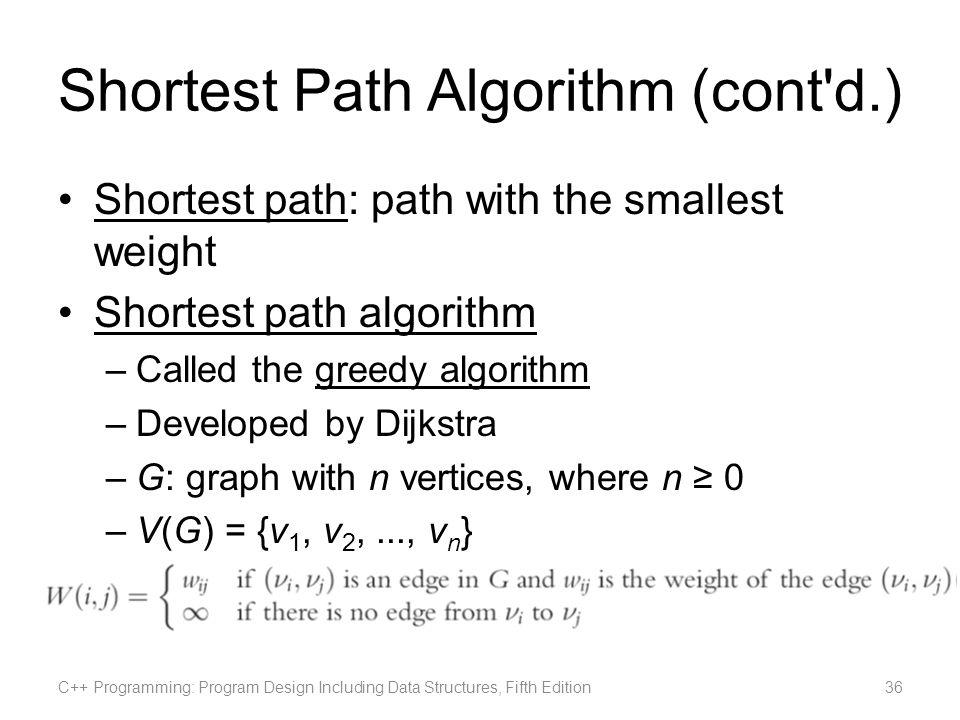 Shortest Path Algorithm (cont d.)