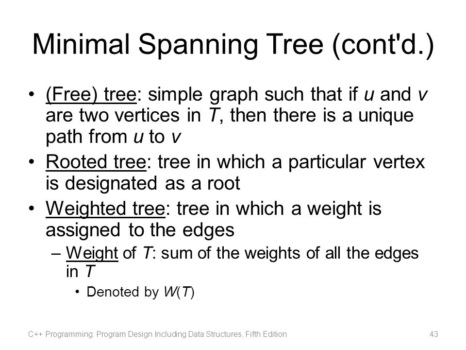 Minimal Spanning Tree (cont d.)