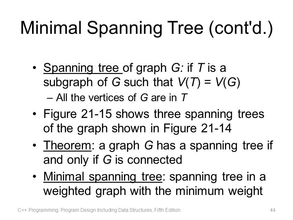 Minimal Spanning Tree (cont d.)