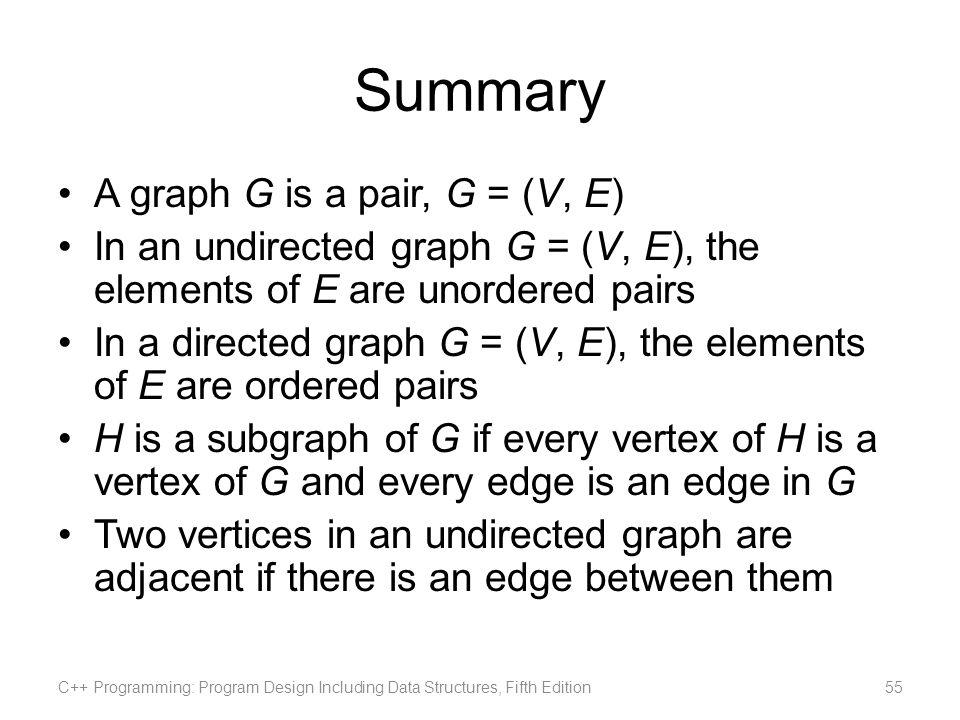 Summary A graph G is a pair, G = (V, E)