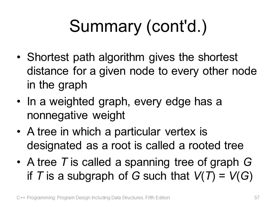 Summary (cont d.) Shortest path algorithm gives the shortest distance for a given node to every other node in the graph.
