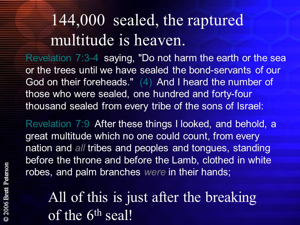 144,000 sealed, the raptured multitude is heaven.