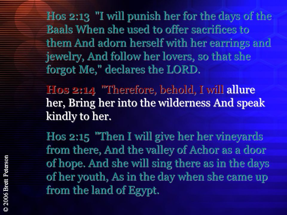 Hos 2:13 I will punish her for the days of the Baals When she used to offer sacrifices to them And adorn herself with her earrings and jewelry, And follow her lovers, so that she forgot Me, declares the LORD.