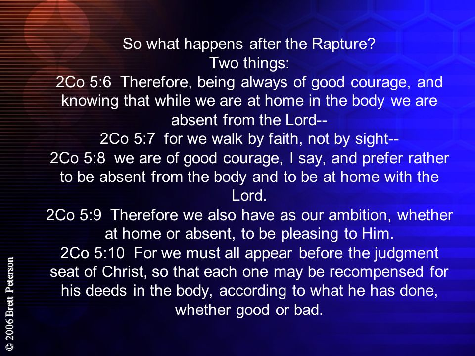 So what happens after the Rapture
