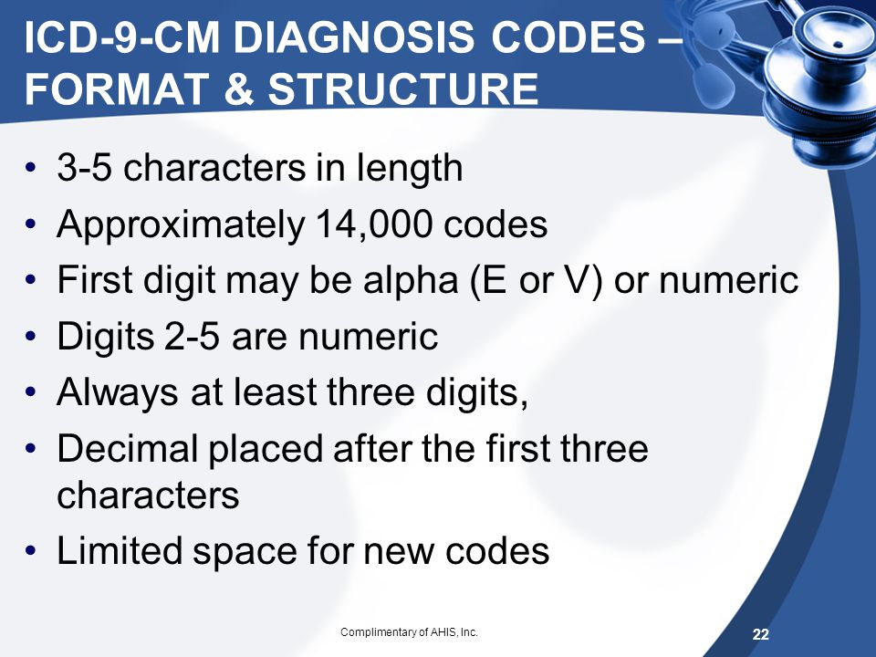ICD-9-CM DIAGNOSIS CODES – FORMAT & STRUCTURE