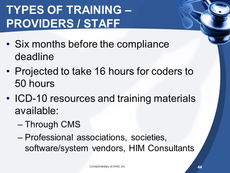 TYPES OF TRAINING – PROVIDERS / STAFF