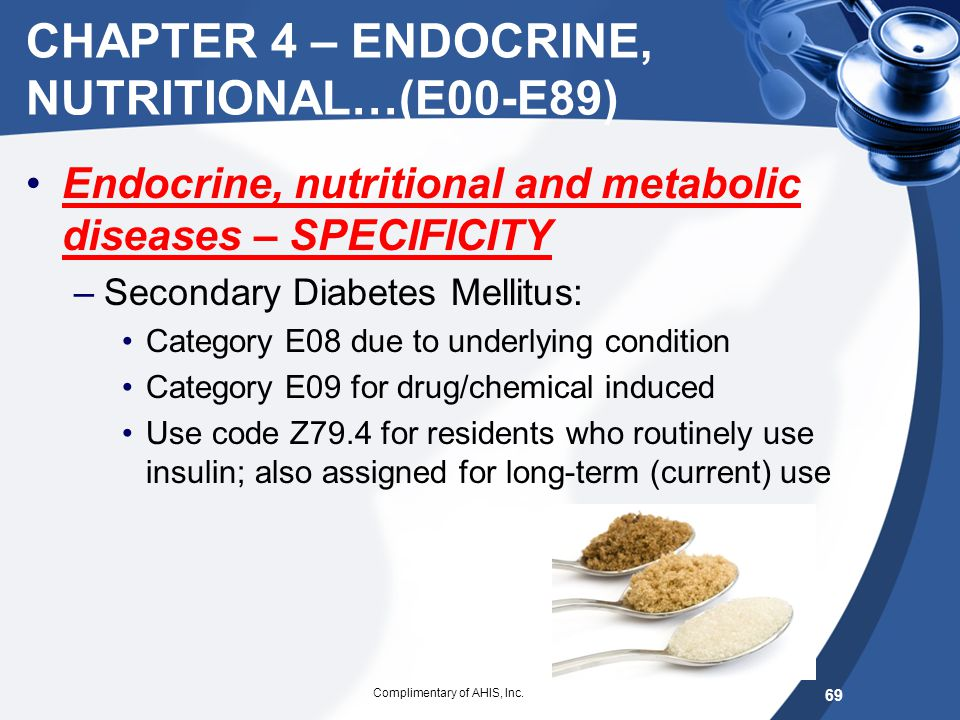CHAPTER 4 – ENDOCRINE, NUTRITIONAL…(E00-E89)