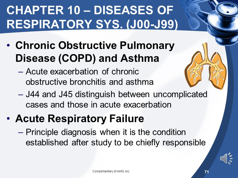 CHAPTER 10 – DISEASES OF RESPIRATORY SYS. (J00-J99)