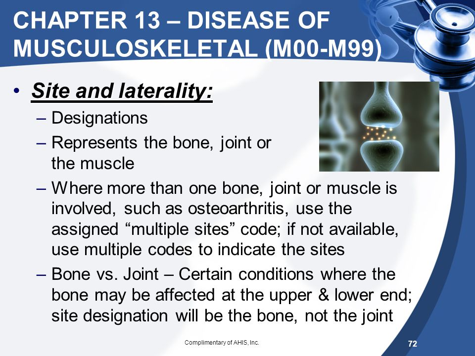 CHAPTER 13 – DISEASE OF MUSCULOSKELETAL (M00-M99)