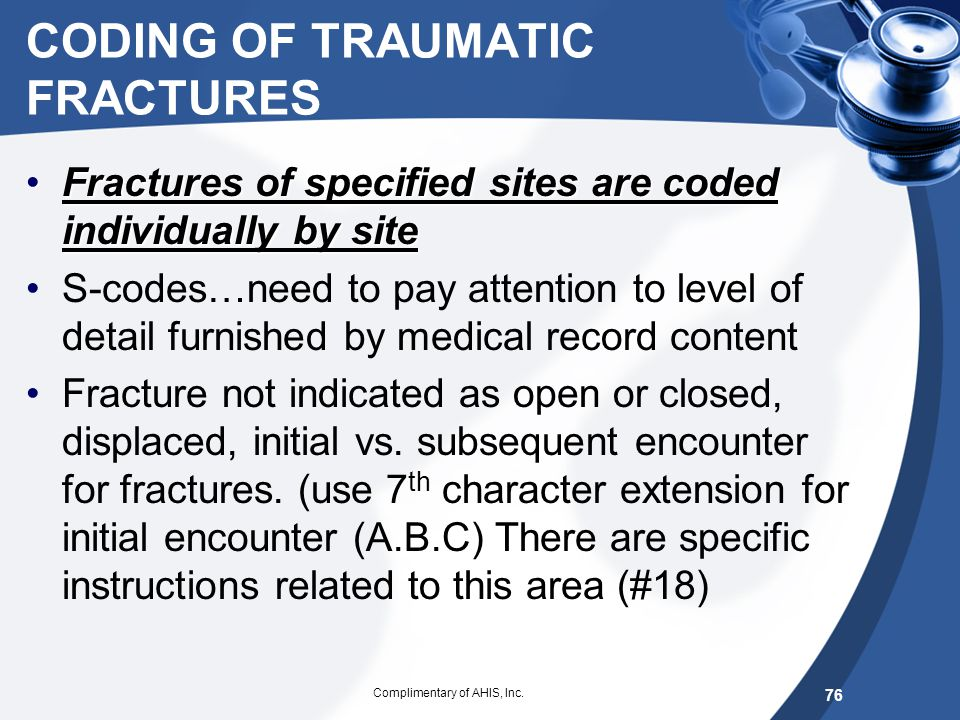 CODING OF TRAUMATIC FRACTURES