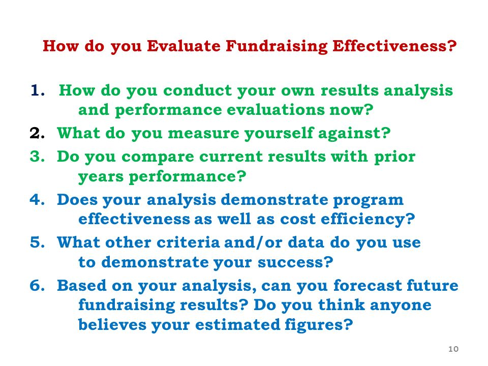 How do you Evaluate Fundraising Effectiveness