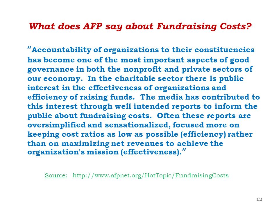 What does AFP say about Fundraising Costs
