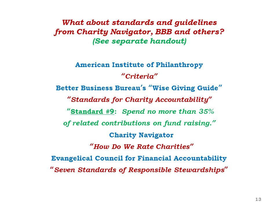 What about standards and guidelines from Charity Navigator, BBB and others (See separate handout)