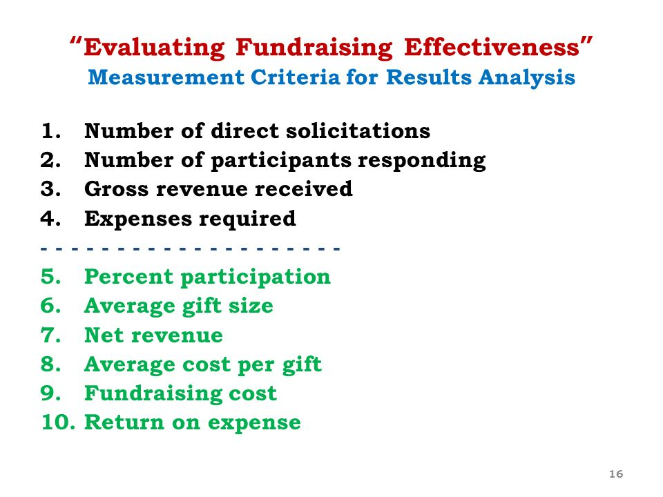 Evaluating Fundraising Effectiveness Measurement Criteria for Results Analysis