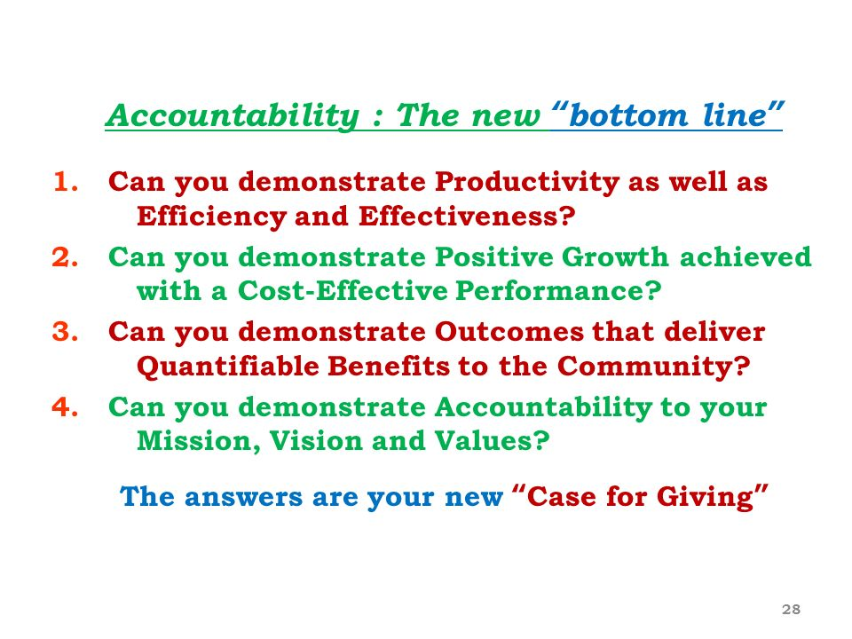 Accountability : The new bottom line