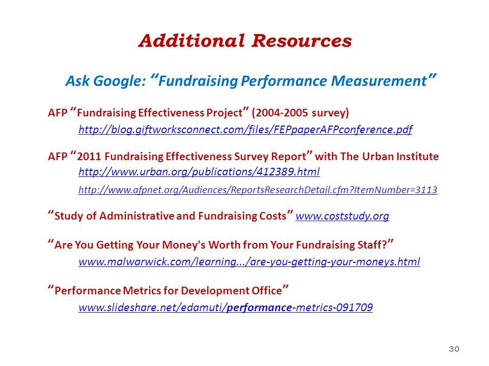 Ask Google: Fundraising Performance Measurement