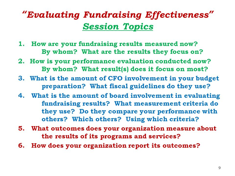 Evaluating Fundraising Effectiveness Session Topics