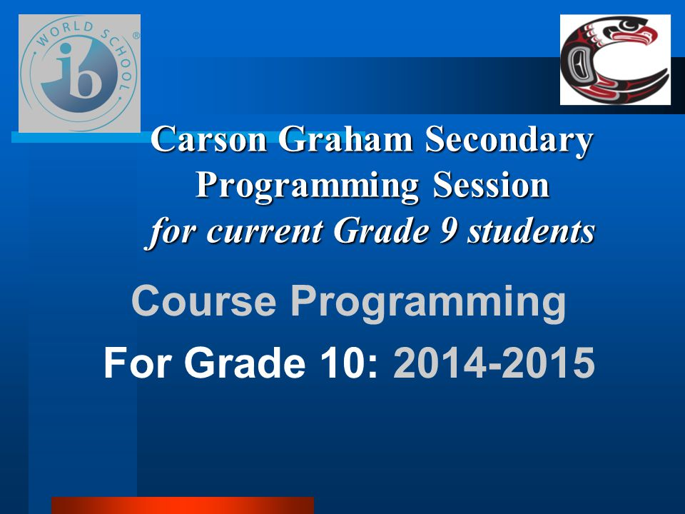 Course Programming For Grade 10: 2014-2015