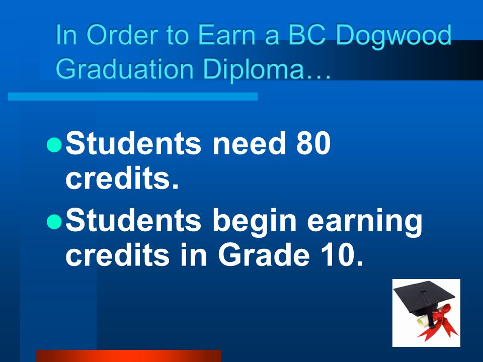 In Order to Earn a BC Dogwood Graduation Diploma…