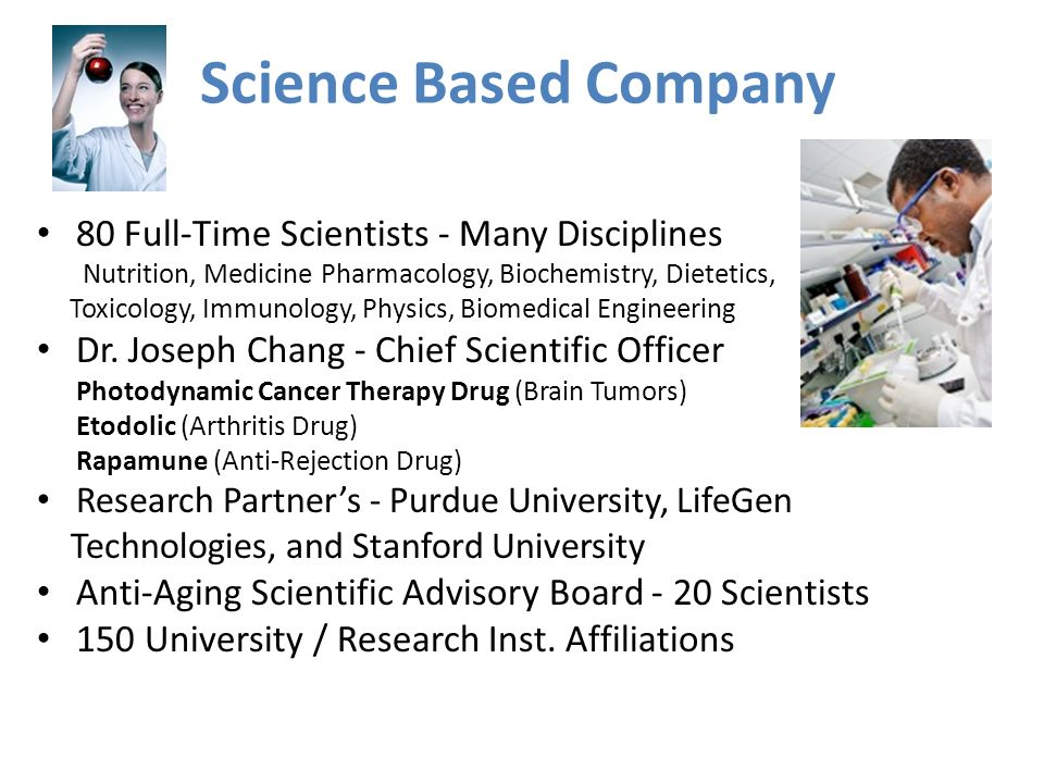 Science Based Company 80 Full-Time Scientists - Many Disciplines