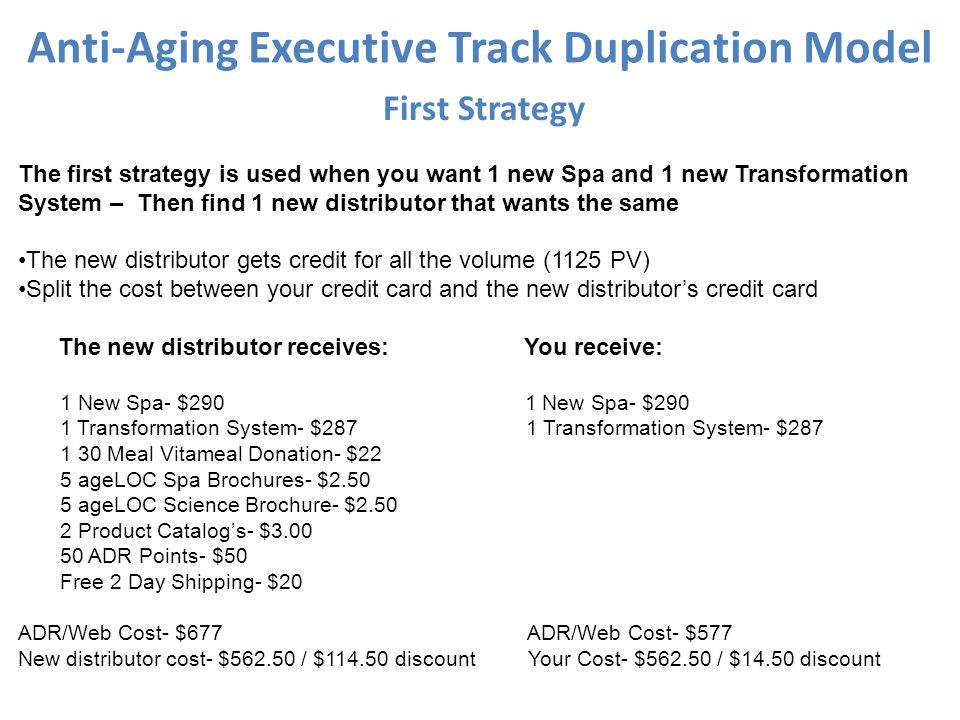 Anti-Aging Executive Track Duplication Model