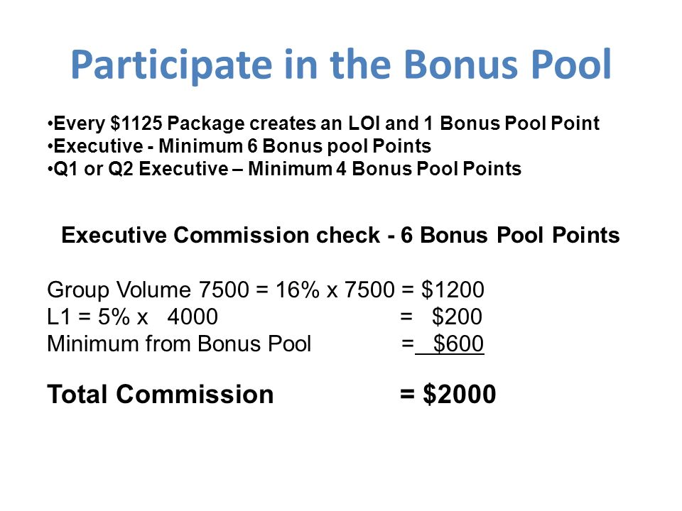 Participate in the Bonus Pool