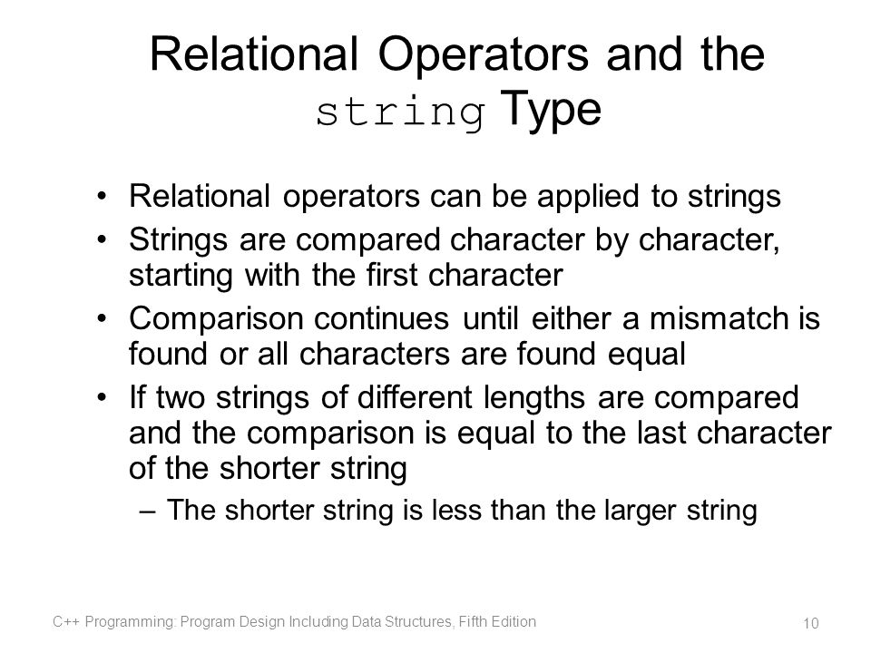 Relational Operators and the string Type