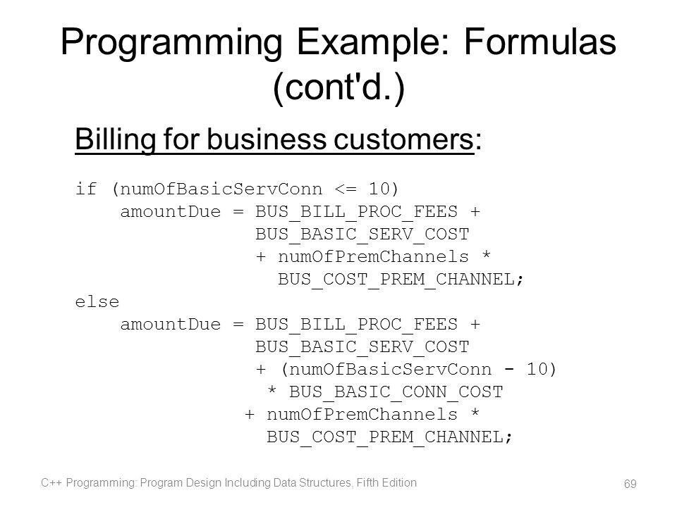 Programming Example: Formulas (cont d.)
