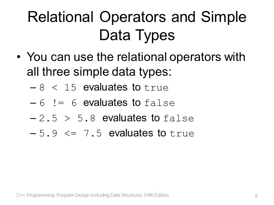 Relational Operators and Simple Data Types