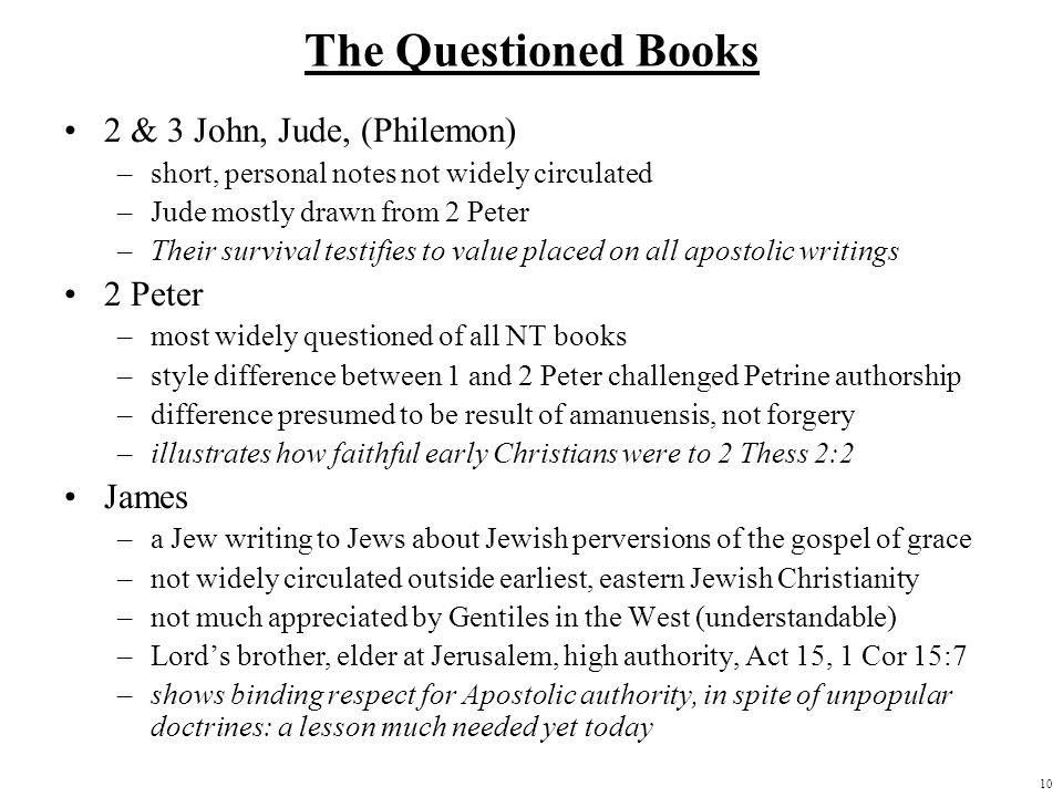 The Questioned Books 2 & 3 John, Jude, (Philemon) 2 Peter James