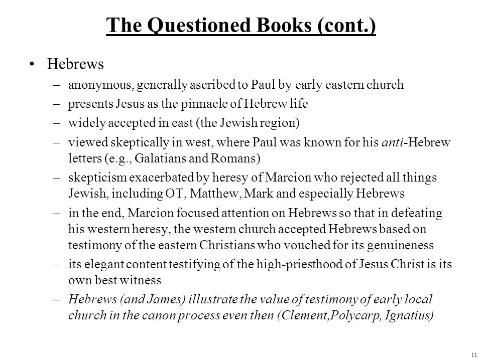 The Questioned Books (cont.)