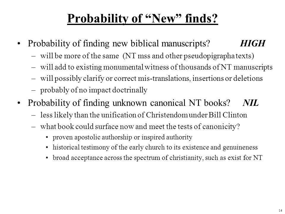 Probability of New finds