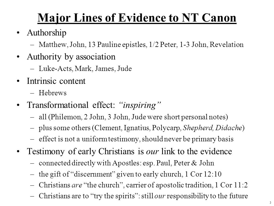 Major Lines of Evidence to NT Canon